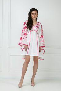 Одежда из льна «Линда» белое мини-платье