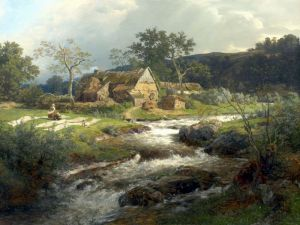 Ахенбах Андреас Пейзаж с хутором и потоком