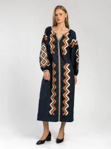 ЕтноДім Темно-синее вышитое миди-платье WAVE