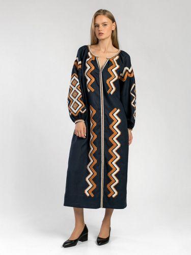 Темно-синее вышитое миди-платье WAVE