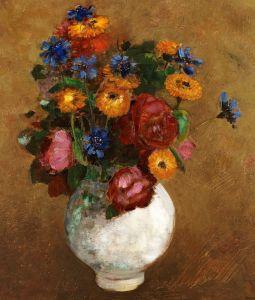 Редон Одилон Букет цветов в белой вазе