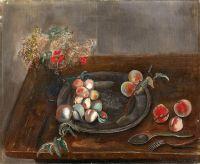 Натюрморт с фруктами и цветами на столе