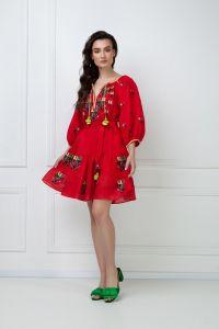 """Вишиті плаття """"Омелiя Шик"""" червона мiнi-сукня"""