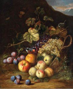 Барокко Круг. Корзина с фруктами в гористом пейзаже