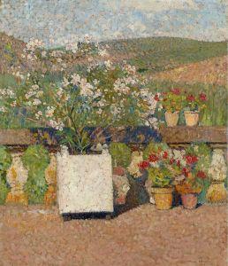 Мартен Анри Цветник с кустом роз и горшками с геранью на террасе в Маркероли летом