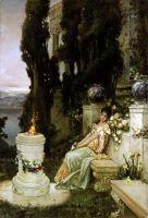 Дама на мраморной скамье в античном Риме