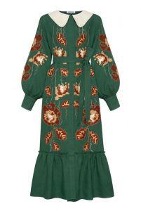 """Платье вышиванка ручной работы """"Адель"""" зеленое платье-миди с воротником"""