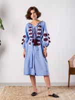 Голубое платье со льна с растительным орнаментом Jawa Blue