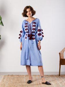 ЕтноДім Синє плаття з льону з рослинним орнаментом Jawa Blue