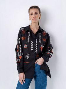Вышиванки ручной работы Льняная вышитая рубашка черного цвета SLOVO BLACK