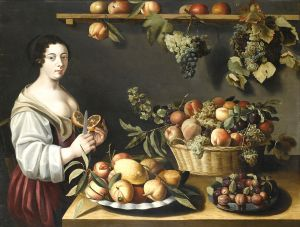 Муайон Луиза Натюрморт с фруктами и молодой служанкой
