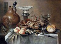 Натюрморт с крабом, солонкой, кувшином, миской с фруктами и др объектами