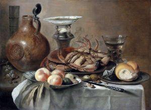 Клас Питер Натюрморт с крабом, солонкой, кувшином, миской с фруктами и др объектами