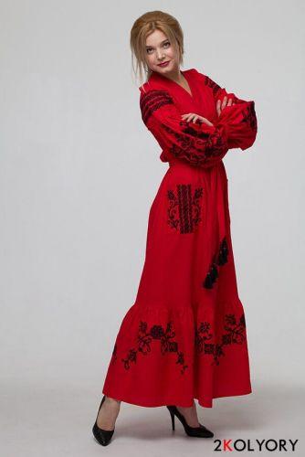 """Купити Сукня вишиванка """"Східний сад"""" червона DVAC96 на UkrainArt 9f1f33f3fe0e6"""