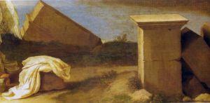Пуссен Никола Пейзаж с св. Матвеем и ангелом, деталь разрушенного ландшафта