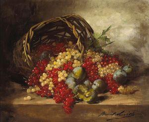 Брюнель де Нёвиль Альфред-Артур Натюрморт с красной смородиной и сливами в плетеной корзинке