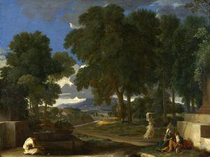Пуссен Никола Пейзаж с мужчиной, что умывает ноги в фонтане
