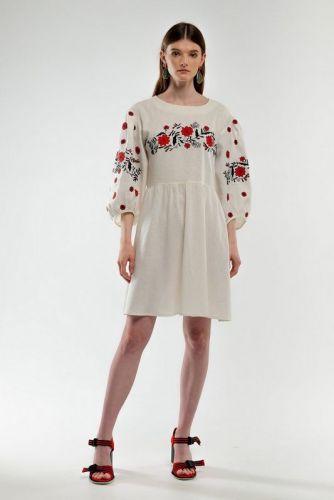 Платье вышиванка Зозулька молочное - изображение 1