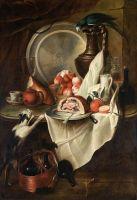 Натюрморт с фруктами, ветчиной, котом и попугаем