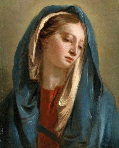 Мадонна с взглядом вперед, в синем плаще