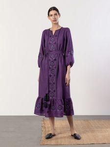 Жіночі вишиванки ручної роботи  Вишита сукня фіолетового кольору з широкими рукавами Tranoy