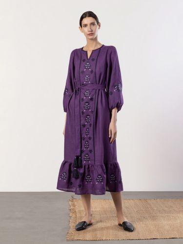 Вышитое платье фиолетового цвета с широкими рукавами Tranoy