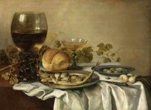 Клас Питер Натюрморт с рёмером, сельдью, оливками на оловянных тарелках и др объектами