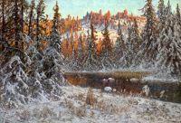 Декабрьский вечер на лесном озере, Даларна