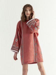 ЕтноДім Легкое терракотовое платье c геометрической вышивкой Africa