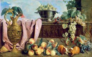 Депорт Александр Франсуа Натюрморт с фруктами, кувшином, попугаем и морскими свинками