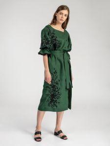 Довга сукня з рослинним орнаментом Green Swan