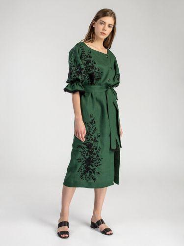 Длинное платье c растительным орнаментом Green Swan