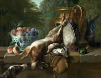 Натюрморт с битой дичью и миской с персиками и сливами