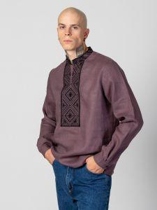 Купить вышиванку в Киеве Мужская рубашка c черным геометрическим орнаментом Troyan Dark