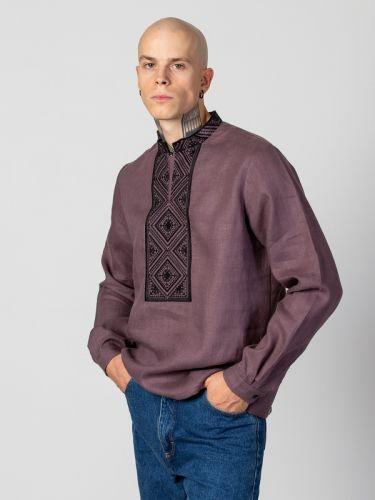 Чоловіча сорочка з чорним геометричним орнаментом Troyan Dark