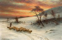 Пастух с паствой при заходе Солнца