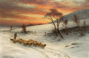 Фаркухарсон Джозеф Пастух с паствой при заходе Солнца