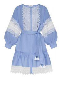 """Платье вышиванка ручной работы """"Сильвия"""" лавандовое платье-мини"""