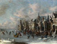 Замерзшая река с фигуристами перед укрепленным городом 2