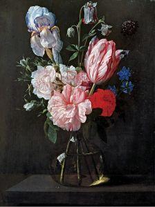 Верендаль Николас ван Букет цветов в стеклянной вазе на выступе