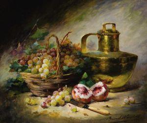 Брюнель де Нёвиль Альфред-Артур Натюрморт с корзиной фруктов и медным кувшином