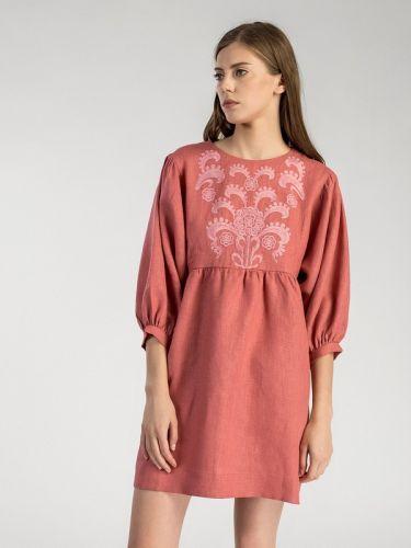Льняное платье с вышивкой Sun Light