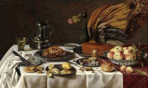 Барокко Натюрморт с павлиньим пирогом