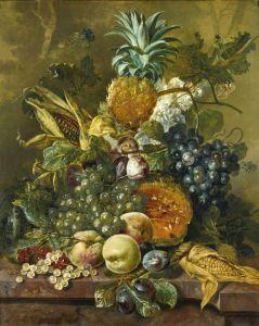 Линдхорст Якобус Натюрморт с фруктами и кукурузой на каменном выступе