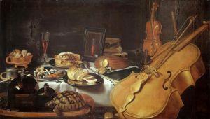 Барокко Натюрморт с музыкальными инструментами
