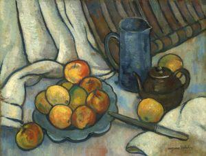 Натюрморт с яблоком, кувшином и чайником