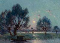 Ясно. Луна над берегами реки Луары