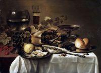 Натюрморт с ежевичным пирогом, устрицами, лимоном, рёмером, таццой и др объектами