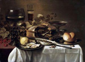 Клас Питер Натюрморт с ежевичным пирогом, устрицами, лимоном, рёмером, таццой и др объектами