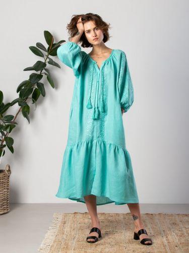 Яркое ультрамариновое платье со льна с вышивкой в тон Jasmine